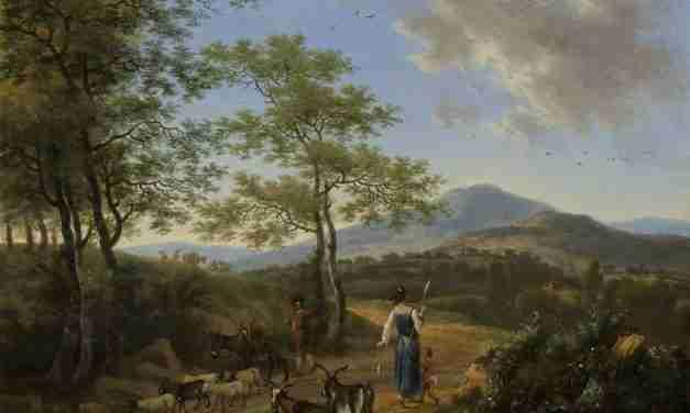 Paysage italien avec les bergers