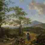 Paesaggio italiano con i pastori