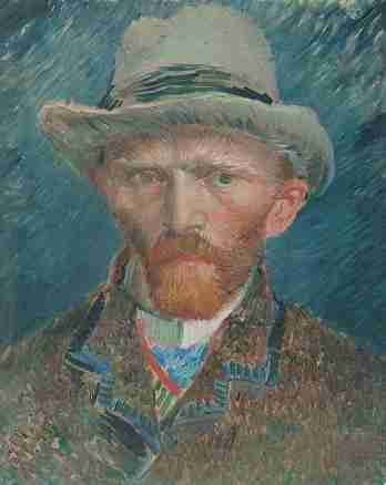 Self-portrait with grey felt hat
