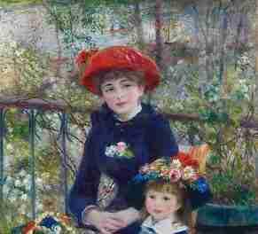 Dos hermanas, en la terraza